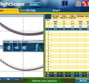 Screencap from a FlightScope golf launch monitor showing a club analysis table sample.