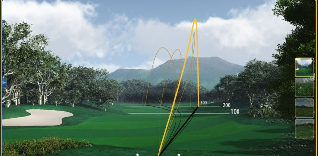 Screencap from a FlightScope golf launch monitor showing its shot plot feature.