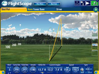 Screencap showing sample data from a FlightScope golf launch monitor / golf ball tracker.
