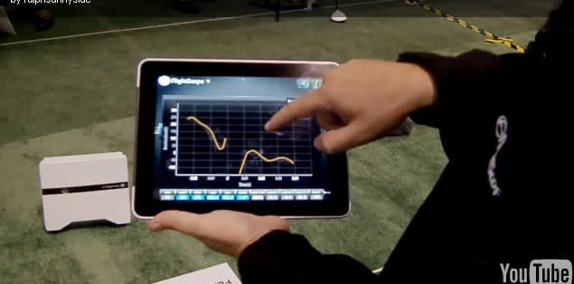 Photo of data from a FlightScope golf launch monitor being displayed on an iPad.