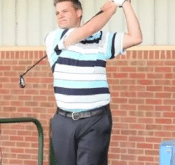 Photo of Graham Green using a FlightScope golf launch monitor for club comparison.