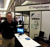 Photo from the PGA Merchandise Show where FlightScope golf launch monitors / golf ball trackers were exhibited.