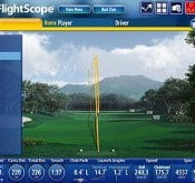 Screencap showing sample data from the FlightScope PC software V6.