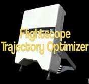 Photo promoting the Trajectory Optimizer feature of the FlightScope X2 golf launch monitor.