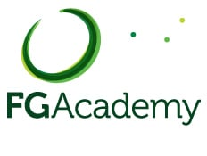 Logo of the FG Academy which uses a FlightScope golf launch monitor / golf ball tracker for golf coaching.