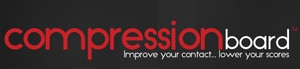 Logo of Compression Board which uses a FlightScope X2 launch monitor to teach the fundamentals of golf.