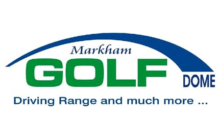 Logo of Markham Golf Dome which uses a FlightScope golf launch monitor as a teaching aid.