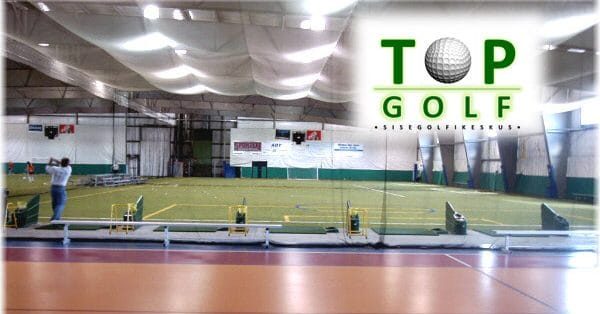 Photo from the Top Golf indoor golf center which uses a FlightScope golf launch monitor for practice sessions.