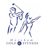 Logo of Horsham Golf and Fitness which uses a FlightScope golf launch monitor for club fitting and golf coaching.