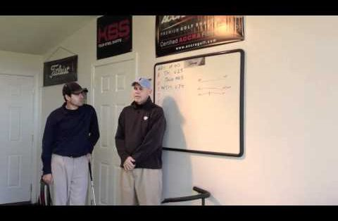 Photo of Dennis Sales and Joe Leahy discussing how a FlightScope golf launch monitor can be used for iron fitting.