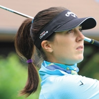 Photo of FlightScope Tour Player and FlightScope launch monitor / golf ball tracker user Sandra Gal.