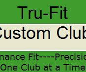 Logo of Tru-Fit Custom Clubs which uses FlightScope launch monitors / golf ball trackers for club fitting.