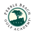 Logo of Pebble Beach Golf Academy which uses FlightScope's X-Series 3D club and ball tracking equipment at their facility.