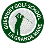 Logo of Guernsey Golf School which uses a FlightScope golf launch monitor as a teaching aid and a club fitting tool.