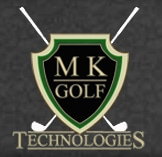Logo of MK Golf Technologies which uses a FlightScope golf launch monitor for club fitting.