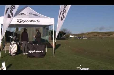 TaylorMade gearing up for their club fitting tour with the help of a FlightScope launch monitor.