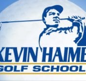 Logo of the Kevin Haime Golf School which uses FlightScope launch monitors for golf club fitting sessions.