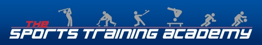 Logo of The Sports Training Academy which rents out their FlightScope launch monitor for golf sessions.