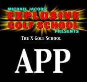 Photo promoting the X Golf School App which includes FlightScope golf launch monitor tutorials, FlightScope files, lesson booking, etc.