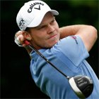 Photo of FlightScope Tour Player Danny Willett in full swing at the BMW International Open.