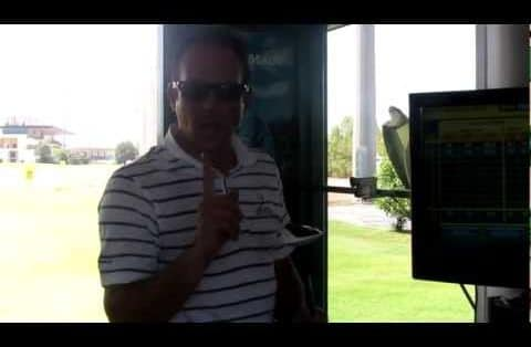 Steve Johns compares a long iron to a hybrid/rescue club using a FlightScope launch monitor.
