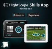 Product page promoting the FlightScope launch monitor's complementary Skills app.