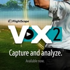 Photo promoting the FlightScope VX2 golf launch monitor app's split screen video analysis feature.