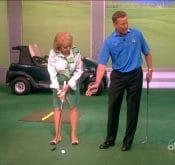 FlightScope Ambassador Michael Breed teaching Barbara Walters how to play golf.