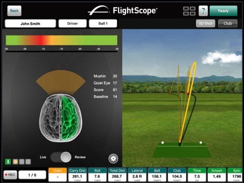 Photo showing data from Flightscope's launch monitor app, VX