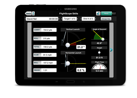 Photo showing the club and ball data parameters available on the Flightscope Skills app