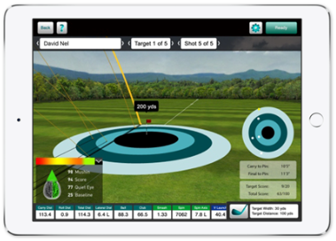 Photo showing Flightscope Skills' real-time golf ball tracking