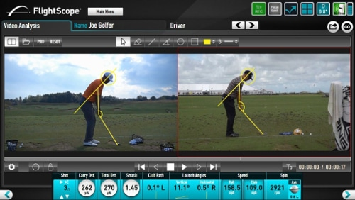 Screenshot showing the FlightScope PC software's side-by-side video analysis feature.