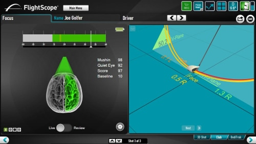 Photo showing the integration between the FlightScope PC software and FocusBand.