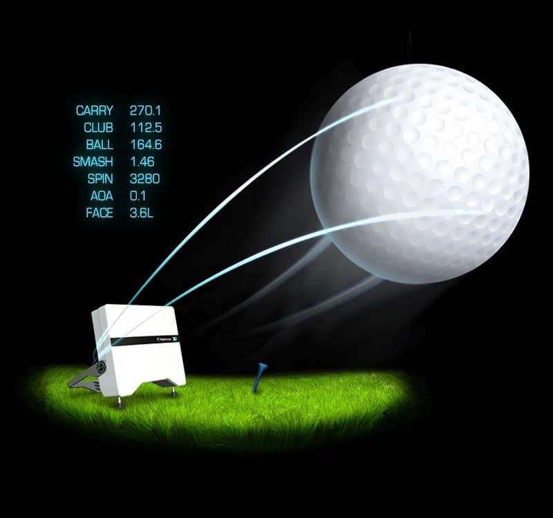 Infographic showing the data parameters that FlightScope golf launch monitors offer.