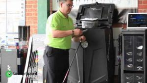 Photo of Leaderboard CEO showing how FlightScope golf launch monitors can be used for club fitting.