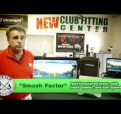 Photo of Richard Conragan explaining the FlightScope golf launch monitors' Smash Factor feature.