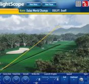 Screencap showing data from a FlightScope golf launch monitor being used to track Geoff Ogilvy's performance.