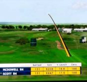 Screencap showing data from a FlightScope launch monitor being used to track Scott McDowell's performance at the British Open.