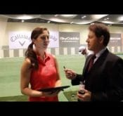 Photo showing FlightScope CEO Henri Johnson interviewing FlightScope tour player Sandra Gal.