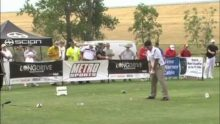 Photo showing a FlightScope golf launch monitor / golf ball tracker being used at the Time Warner Long Drive Championship.