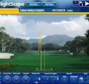 Screencap showing a FlightScope golf launch monitor tracking Louis Oosthuizen's game performance.