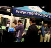 Photo from an event where FlightScope golf launch monitors / golf ball trackers were exhibited.