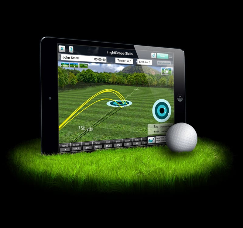 Photo showing the FlightScope launch monitor app being viewed from an iPad.