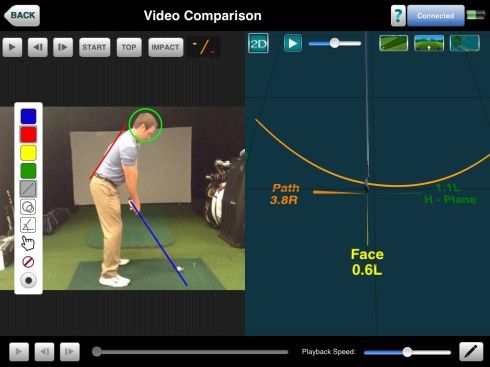 Photo demonstrating the Video Comparison feature of the FlightScope launch monitors' complementary VX2 app.