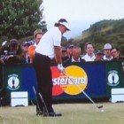 Photo of Phil Mickelson whose performance was measured by a FlightScope launch monitor / golf ball tracker.
