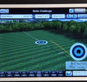 Photo showing a digital driving range on the FlightScope launch monitor's complementary Skills app.