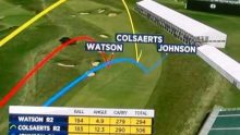 Screencap showing data from a FlightScope launch monitor being used to display 3D plots of the players' shots.