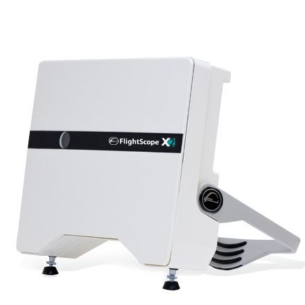 Product photo showing the FlightScope X2 launch monitor / golf ball tracker from the side.