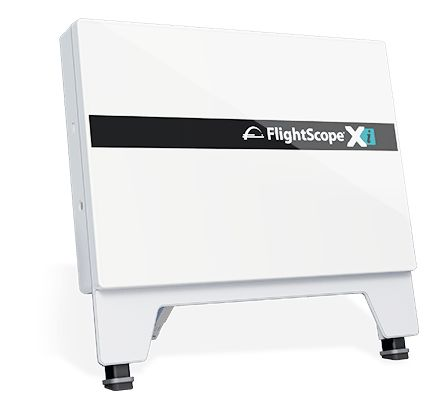 Product photo showing a FlightScope Xi launch monitor / golf ball tracker.
