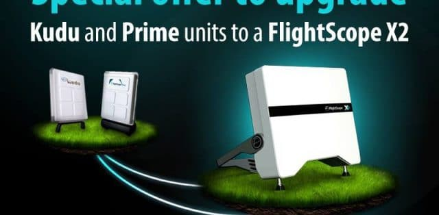 Promotional photo encouraging users to upgrade their Kudu and Prime to a FlightScope X2 launch monitor.